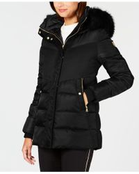 Vince Camuto - Faux-fur-trim Colorblocked Puffer Coat - Lyst