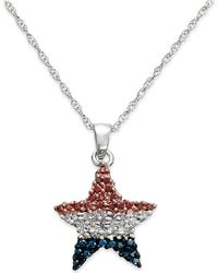 Macy's - Diamond Flag Star Pendant Necklace In Sterling Silver (1/4 Ct. T.w.) - Lyst