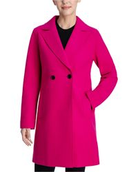 BCBGeneration Raw-edge Double-breasted Walker Coat - Pink