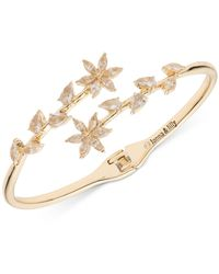 Lonna & Lilly Gold-tone Crystal Hinge Open Bypass Bracelet - Metallic