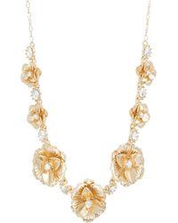 Catherine Malandrino - Flower Style White Rhinestone Yellow Gold-tone Cluster Necklace - Lyst