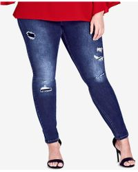 City Chic - Trendy Plus Size Harley Ripped Jeggings - Lyst