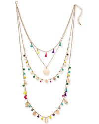 """INC International Concepts - I.n.c. Gold-tone Bead & Tassel Layered Necklace, 16"""" + 3"""" Extender, Created For Macy's - Lyst"""