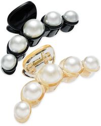 INC International Concepts Inc 2-pc. Imitation Pearl Hair Clip Set, Created For Macy's - Black