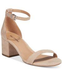 a7884920ee1 Lyst - Sam Edelman Fuchsia Torrence Two-Piece Block Heel Sandals in ...
