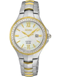 Seiko - Women's Coutura Solar Diamond Accent Two-tone Stainless Steel Bracelet Watch 29mm Sut240 - Lyst