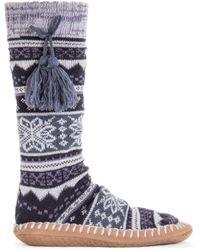 Muk Luks Slipper Socks With Tassels - Blue