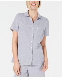 Karen Scott Cotton Short-sleeve Seersucker Shirt, Created For Macy's - Multicolor