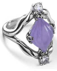 Carolyn Pollack - Carved Purple Jade (10x16mm) And White Topaz (1/4 Ct. T.w.) Ring In Sterling Silver - Lyst