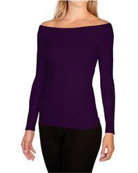 Skinnytees Long Sleeve Boatneck - Purple