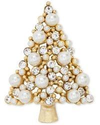Charter Club Holiday Lane Gold-tone Crystal & Imitation Pearl Tree Pin, Created For Macy's - Metallic