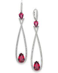 Danori - Silver-tone Crystal & Stone Elongated Drop Earrings, Created For Macy's - Lyst