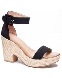 Chinese Laundry Queen Wedge Sandals - Black