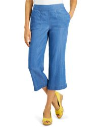 Charter Club Chambray Cropped Pants, Created For Macy's - Blue