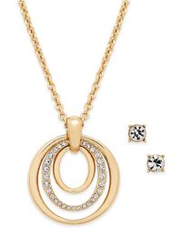Charter Club | Pavé Pendant Necklace & Crystal Stud Earrings Set | Lyst