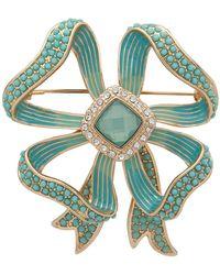 Anne Klein Gold-tone Pavé & Stone Bow Pin - Green