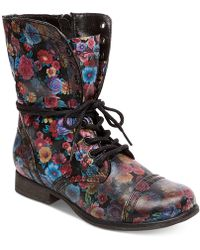 Steve Madden | Women's Troopa Floral Combat Boots | Lyst