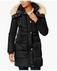 French Connection - Faux-fur-trim Mixed-media Puffer Coat - Lyst
