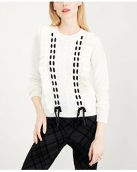 Maison Jules - Ruffle-trim Lace-up Sweater, Created For Macy's - Lyst