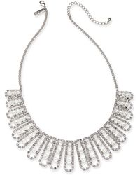"INC International Concepts - I.n.c. Silver-tone Crystal And Imitation Pearl Statement Necklace, 18"" + 3"" Extender, Created For Macy's - Lyst"