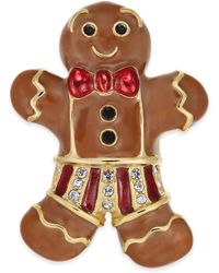 Charter Club Holiday Lane Gold-tone Pavé Gingerbread Man Pin, Created For Macy's - Metallic