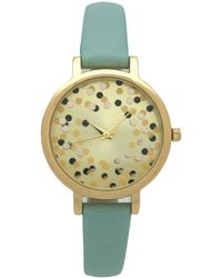 Olivia Pratt Confetti Thin Leather Strap Watch - Green