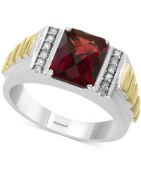 Effy Collection - Effy® Rhodolite Garnet (3-1/2 Ct. T.w.) & Diamond (1/8 Ct. T.w.) Ring In Sterling Silver & 14k Gold-plate - Lyst