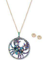"Betsey Johnson - Two-tone Multi-stone Cancer Zodiac Pendant Necklace & Stud Earrings Set, 21-1/2"" + 3"" Extender - Lyst"
