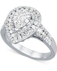 Macy's - Diamond Teardrop Cluster Ring (1 Ct. T.w.) In 14k White Gold - Lyst