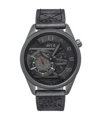 AVI-8 Hawker Harrier Ii Automatic Ace Of Spades Edition Black Genuine Leather Strap Watch 45mm