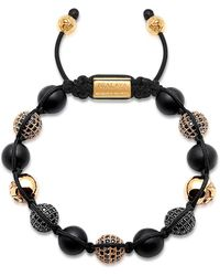 Nialaya Beaded Bracelet With Matte Onyx And Black/gold Cubic Zirconia Crystals