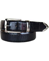 Lejon Le Bernardin Italian Calfskin Embossed Teju Lizard Print Leather Dress Belt - Black
