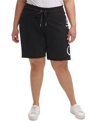 Calvin Klein Performance Plus Size Logo Bermuda Shorts - Black