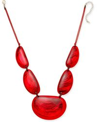 """Style & Co. Resin Statement Necklace, 21-1/2"""" + 3"""" Extender, Created For Macy's - Red"""
