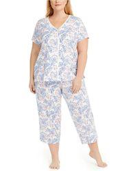 Charter Club Plus Size Cotton Capri Pyjama Set, Created For Macy's - Blue