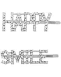 Guess - 2-pc. Silver-tone Pavé Happy Smile Bobby Pin Set - Lyst