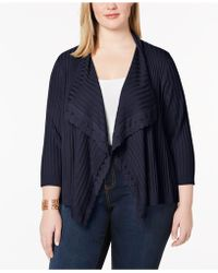 Love Scarlett - Plus Size Lace-trim Ribbed Cardigan - Lyst
