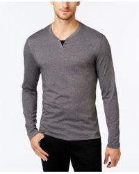 Alfani - Men's Leo Heather Long-sleeve Split-neck T-shirt - Lyst