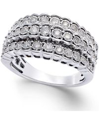 Macy's - Multi-row Diamond Ring In Sterling Silver (1/2 Ct. T.w.) - Lyst