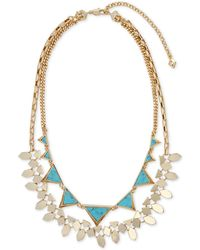 Vera Bradley - Gold-tone Blue Stone Triangle And Geometric Disc Layered Statement Necklace - Lyst