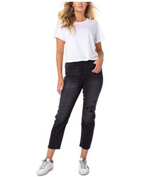Kendall + Kylie Ripped Cropped Straight-leg Jeans - Blue