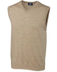 Cutter & Buck Big And Tall Douglas V-neck Sweater Vest - Natural