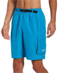 Nike Swim Belted Packable Volley Shorts - Blue