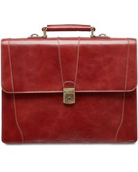 Mancini Signature Collection Flapover Double Compartment Laptop And Tablet Briefcase - Brown