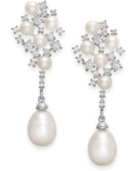 Arabella - Cultured Freshwater Pearl And Swarovski Zirconia Drop Earrings In Sterling Silver (4 & 8mm) - Lyst
