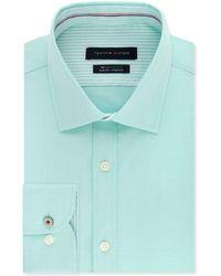 Tommy Hilfiger Slim-fit Non-iron Th Flex Performance Stretch Stripe Dress Shirt - Blue