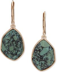 Lonna & Lilly Gold-tone Stone Drop Earrings - Green