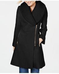 INC International Concepts Inc Faux-fur-trim Asymmetrical Walker Coat, Created For Macy's - Black