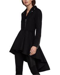 BCBGMAXAZRIA High-low Peplum Coat - Black