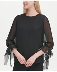 ae09edf33521c Lyst - Olivia   Grace Button-back Bell-sleeve Blouse in Black